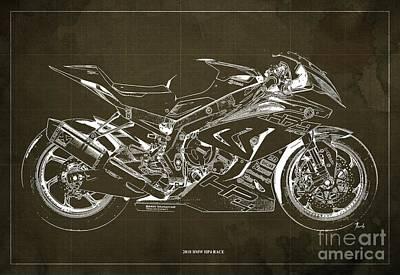 Digital Art - 2018 BMW HP4 Race Blueprint, Vintage Brown Background by Drawspots Illustrations