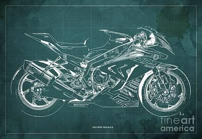Digital Art - 2018 BMW HP4 Race Blueprint, Vintage Green Background by Drawspots Illustrations
