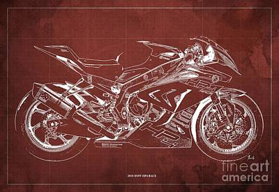Digital Art - 2018 BMW HP4 Race Blueprint, Vintage Red Background by Drawspots Illustrations
