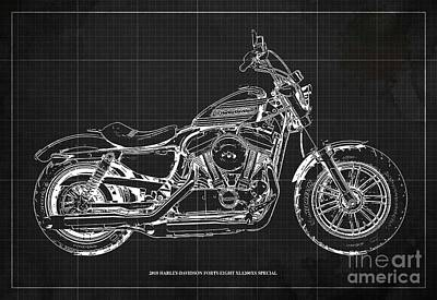 Western Art - 2018 Harley-Davidson Forty-Eight XL1200XS Special, Blueprint by Drawspots Illustrations