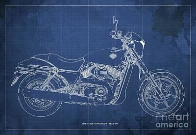 Digital Art - 2018 Harley Davidson Street 500 Blueprint, Vintage Blue Background by Drawspots Illustrations