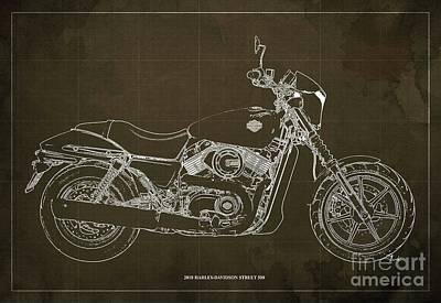 Digital Art - 2018 Harley Davidson Street 500 Blueprint, Vintage Brown Background by Drawspots Illustrations