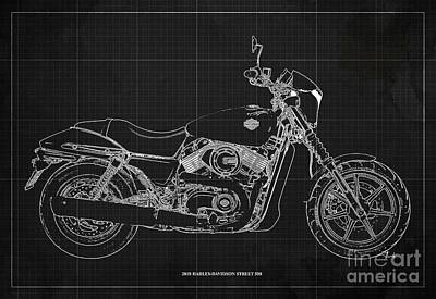 Abstract Animalia Royalty Free Images - 2018 Harley Davidson Street 500 Blueprint, Vintage Dark Grey Background Royalty-Free Image by Drawspots Illustrations