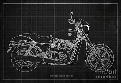 Digital Art - 2018 Harley Davidson Street 500 Blueprint, Vintage Dark Grey Background by Drawspots Illustrations
