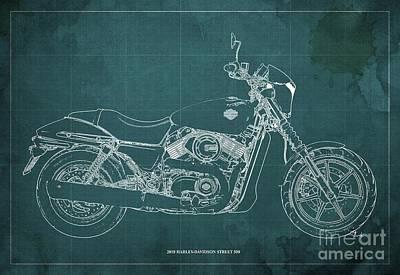 Digital Art - 2018 Harley Davidson Street 500 Blueprint, Vintage Green Background by Drawspots Illustrations