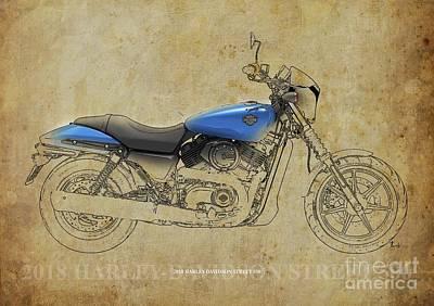 Digital Art - 2018 Harley Davidson Street 500, Vintage Background by Drawspots Illustrations