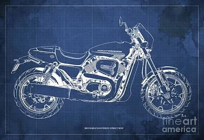 Digital Art - 2018 Harley Davidson Street Rod, Vintage Blue Background by Drawspots Illustrations