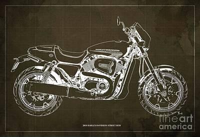 Digital Art - 2018 Harley Davidson Street Rod, Vintage Brown Background by Drawspots Illustrations