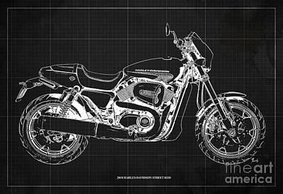 Digital Art - 2018 Harley Davidson Street Rod, Vintage Dark Grey Background by Drawspots Illustrations