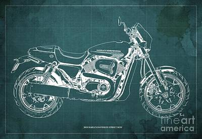 Digital Art - 2018 Harley Davidson Street Rod, Vintage Green Background by Drawspots Illustrations