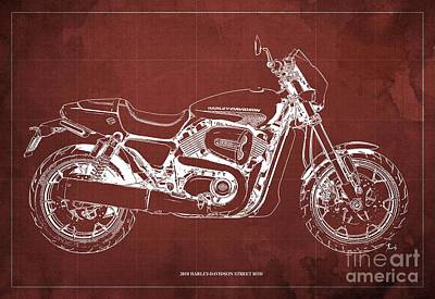 Digital Art - 2018 Harley Davidson Street Rod, Vintage Red Background by Drawspots Illustrations