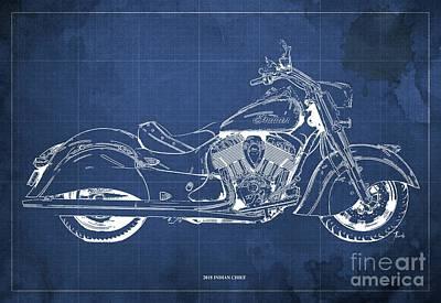 Digital Art - 2018 Indian Chief Blueprint, Vintage Blue Background by Drawspots Illustrations