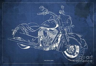 Digital Art - 2018 Indian Chief Blueprint, Vintage Blue Background, Giftideas by Drawspots Illustrations
