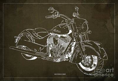 Digital Art - 2018 Indian Chief Blueprint, Vintage Brown Background, Giftideas by Drawspots Illustrations