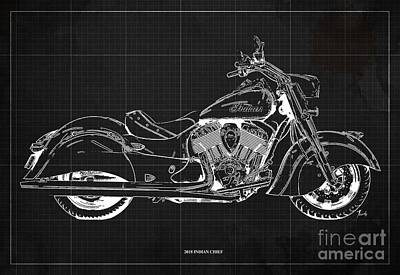 Digital Art - 2018 Indian Chief Blueprint, Vintage Dark Grey Background by Drawspots Illustrations