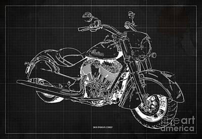 Digital Art - 2018 Indian Chief Blueprint, Vintage Dark Grey Background, Giftideas by Drawspots Illustrations