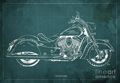 Digital Art - 2018 Indian Chief Blueprint, Vintage Green Background by Drawspots Illustrations