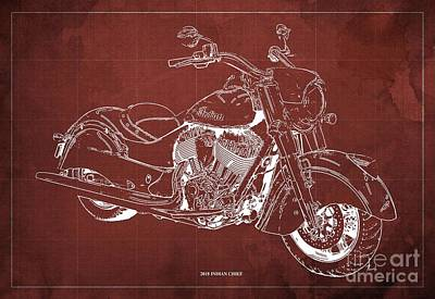 Digital Art - 2018 Indian Chief Blueprint, Vintage Red Background, Giftideas by Drawspots Illustrations