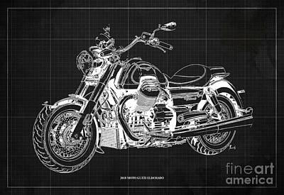 Marvelous Marble Rights Managed Images - 2018 Moto Guzzi Eldorado Blueprint, Original Artwork Royalty-Free Image by Drawspots Illustrations
