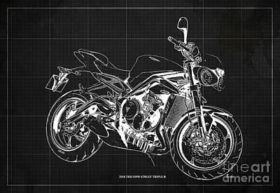 Digital Art - 2018 Triumph Street Triple R Blueprint, Vintage Dark Grey Background,Gift for him by Drawspots Illustrations