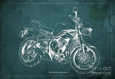 Digital Art - 2018 Triumph Street Triple R Blueprint, Vintage Green Background,Gift for him by Drawspots Illustrations