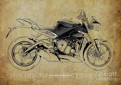 Digital Art - 2018 Triumph Street Triple RS Blueprint, Vintage Background by Drawspots Illustrations