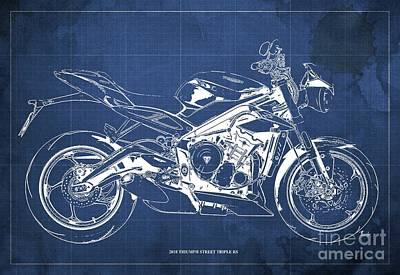 Digital Art - 2018 Triumph Street Triple RS Blueprint, Vintage Blue Background by Drawspots Illustrations