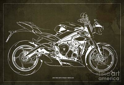 Digital Art - 2018 Triumph Street Triple RS Blueprint, Vintage Brown Background by Drawspots Illustrations