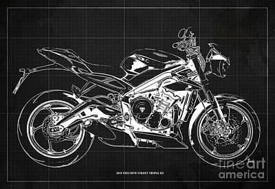 Digital Art - 2018 Triumph Street Triple RS Blueprint, Vintage Dark Grey Background by Drawspots Illustrations