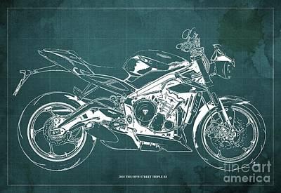 Digital Art - 2018 Triumph Street Triple RS Blueprint, Vintage Green Background by Drawspots Illustrations