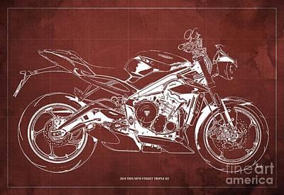 Digital Art - 2018 Triumph Street Triple RS Blueprint, Vintage Red Background by Drawspots Illustrations