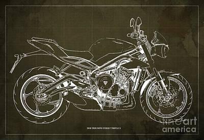 Digital Art - 2018 Triumph Street Triple S Blueprint, Vintage Brown Background by Drawspots Illustrations