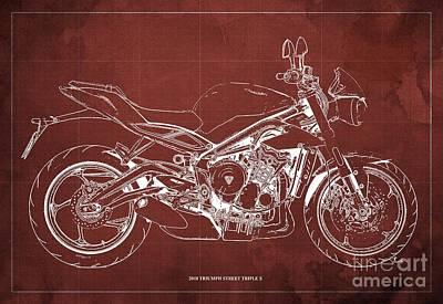 Digital Art - 2018 Triumph Street Triple S Blueprint, Vintage Red Background by Drawspots Illustrations