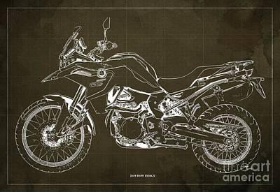 Digital Art - 2019 BMW F850GS Blueprint, Vintage Brown Background by Drawspots Illustrations