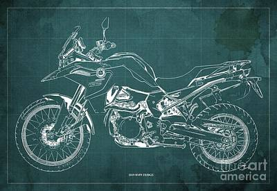 Digital Art - 2019 BMW F850GS Blueprint, Vintage Green Background by Drawspots Illustrations