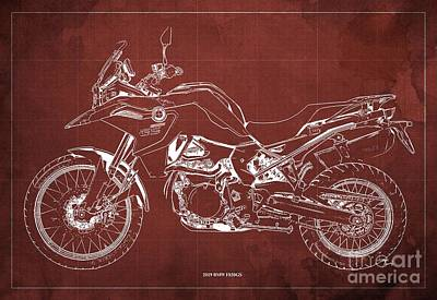 Digital Art - 2019 BMW F850GS Blueprint, Vintage Red Background by Drawspots Illustrations