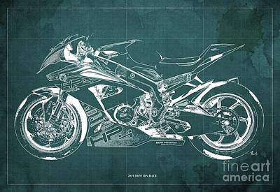 Digital Art - 2019 BMW HP4 Race Blueprint, Vintage Old Green Background by Drawspots Illustrations
