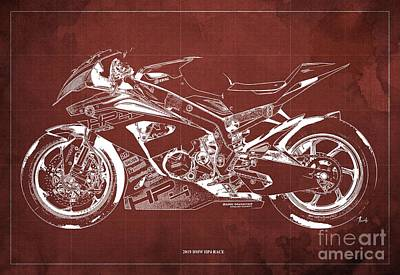 Digital Art - 2019 BMW HP4 Race Blueprint, Vintage Old Red Background by Drawspots Illustrations