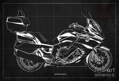 Digital Art - 2019 BMW K1600GTL Blueprint, Original Artwork, Vintage Dark Grey Background by Drawspots Illustrations