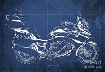 Digital Art - 2019 BMW K1600GTL Blueprint, Vintage Blue Background by Drawspots Illustrations