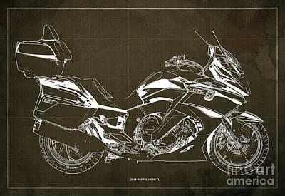 Digital Art - 2019 BMW K1600GTL Blueprint, Vintage Brown Background by Drawspots Illustrations