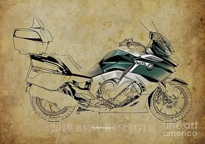 Digital Art - 2019 BMW K1600GTL, Original Artwork, Vintage Background by Drawspots Illustrations