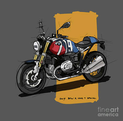 Recently Sold - Portraits Royalty-Free and Rights-Managed Images - 2019 BMW R Nine T Special Original Handmade Drawing by Drawspots Illustrations