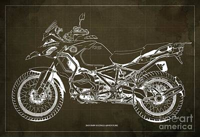 Digital Art - 2019 BMW R1250GS Adventure Blueprint, Brown Background by Drawspots Illustrations