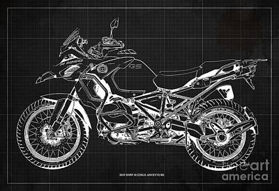 Personalized Name License Plates - 2019 BMW R1250GS Adventure Blueprint, Dark Grey Background by Drawspots Illustrations
