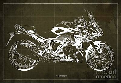 Digital Art - 2019 BMW R1250RS Blueprint, Brown Background by Drawspots Illustrations
