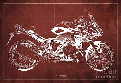 Digital Art - 2019 BMW R1250RS Blueprint, Red Background Artwork by Drawspots Illustrations