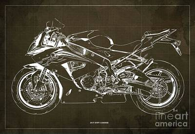 Digital Art - 2019 BMW S1000RR Blueprint, Vintage Brown Background, Giftideas by Drawspots Illustrations