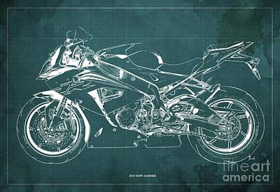 Digital Art - 2019 BMW S1000RR Blueprint, Vintage Green Background, Giftideas by Drawspots Illustrations