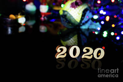Fantasy Royalty-Free and Rights-Managed Images - 2020 happy new year wood number Christmas decoration and snow with bright background and copy space by Joaquin Corbalan